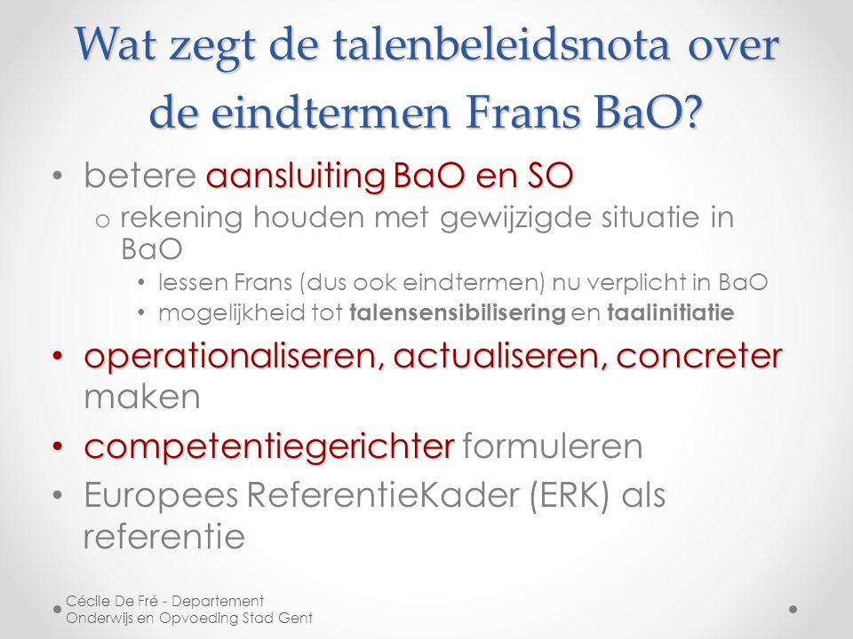Wat zegt de talenbeleidsnota over de eindtermen Frans BaO.