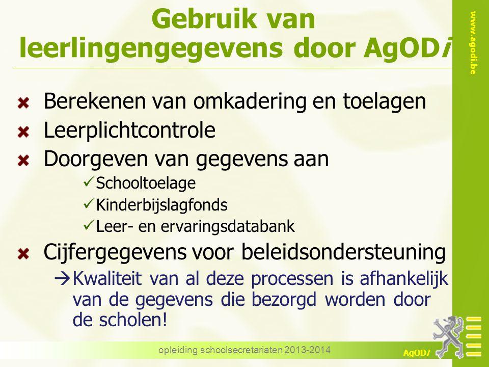 www.agodi.be AgODi Gebruik van leerlingengegevens door AgODi Berekenen van omkadering en toelagen Leerplichtcontrole Doorgeven van gegevens aan School