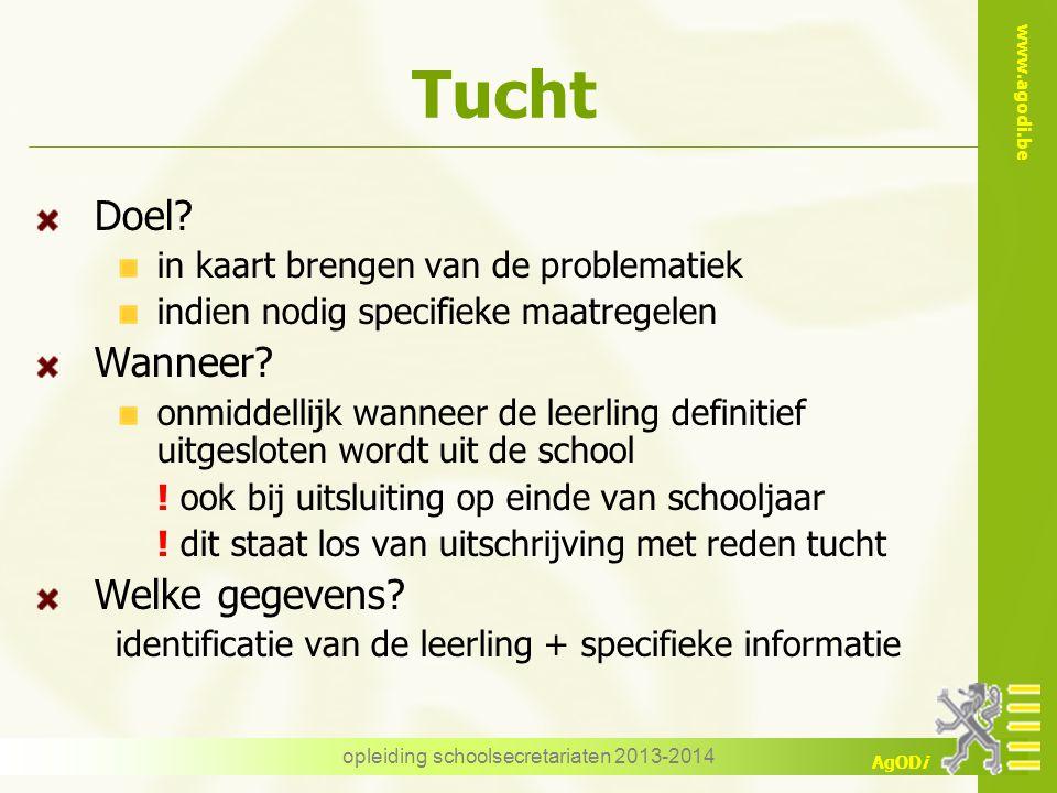 www.agodi.be AgODi Tucht Doel? in kaart brengen van de problematiek indien nodig specifieke maatregelen Wanneer? onmiddellijk wanneer de leerling defi