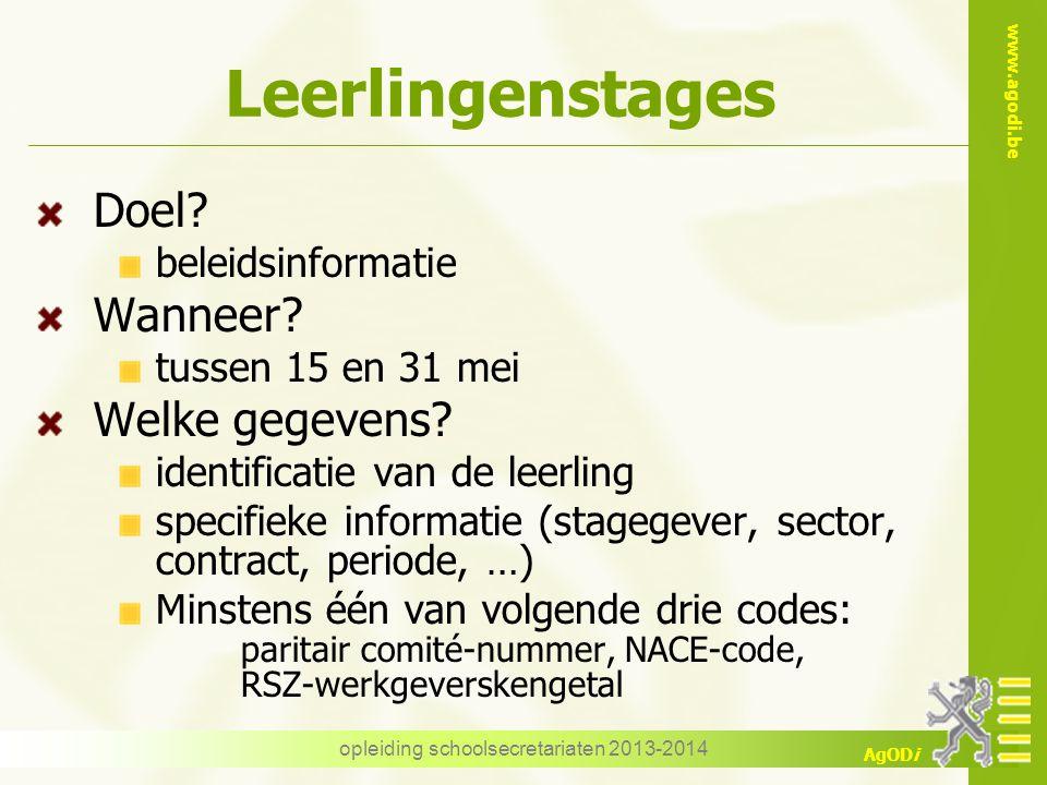 www.agodi.be AgODi Leerlingenstages Doel? beleidsinformatie Wanneer? tussen 15 en 31 mei Welke gegevens? identificatie van de leerling specifieke info
