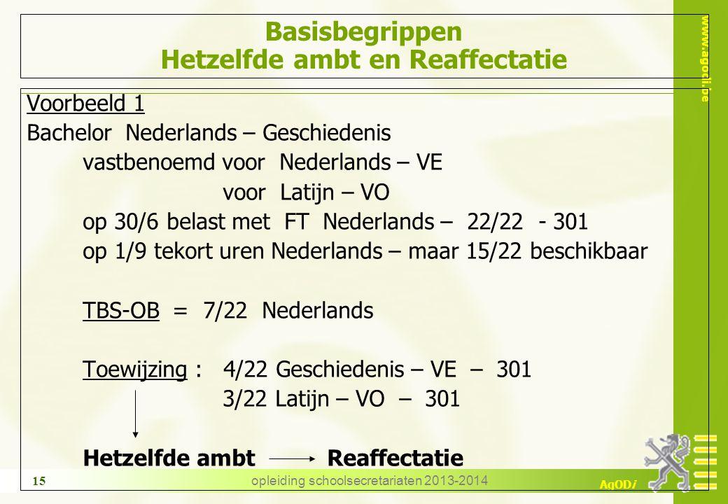 www.agodi.be AgODi opleiding schoolsecretariaten 2013-2014 15 Basisbegrippen Hetzelfde ambt en Reaffectatie Voorbeeld 1 Bachelor Nederlands – Geschiedenis vastbenoemd voor Nederlands – VE voor Latijn – VO op 30/6 belast met FT Nederlands – 22/22 - 301 op 1/9 tekort uren Nederlands – maar 15/22 beschikbaar TBS-OB = 7/22 Nederlands Toewijzing : 4/22 Geschiedenis – VE – 301 3/22 Latijn – VO – 301 Hetzelfde ambt Reaffectatie