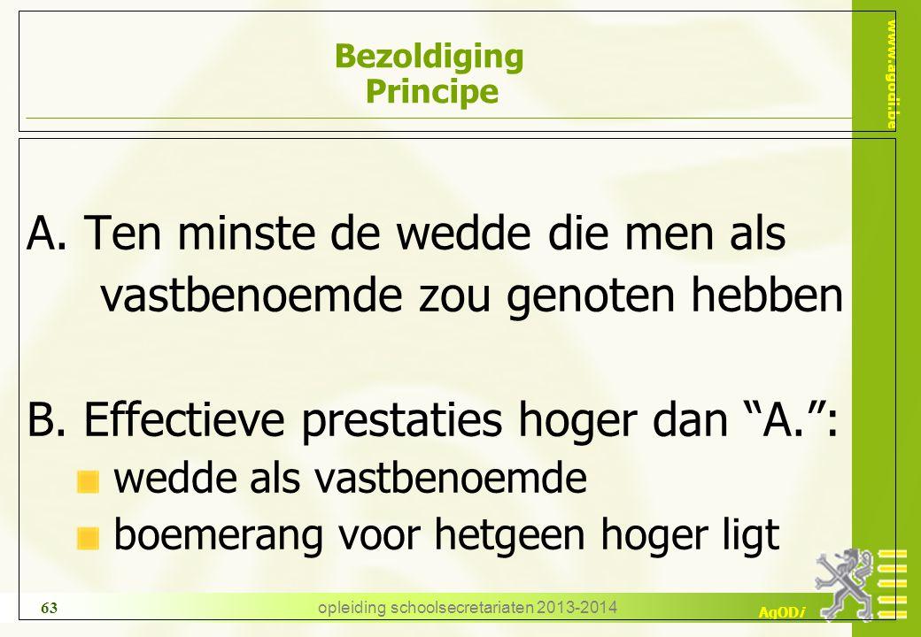 www.agodi.be AgODi opleiding schoolsecretariaten 2013-2014 63 Bezoldiging Principe A.