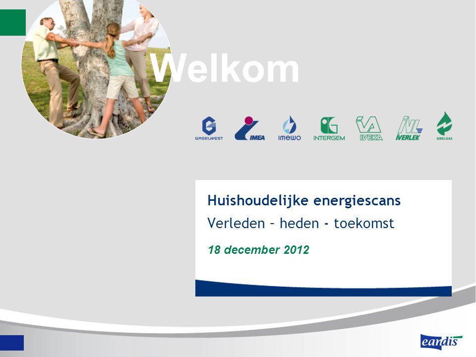 Huishoudelijke energiescans Verleden – heden - toekomst 18 december 2012 Welkom