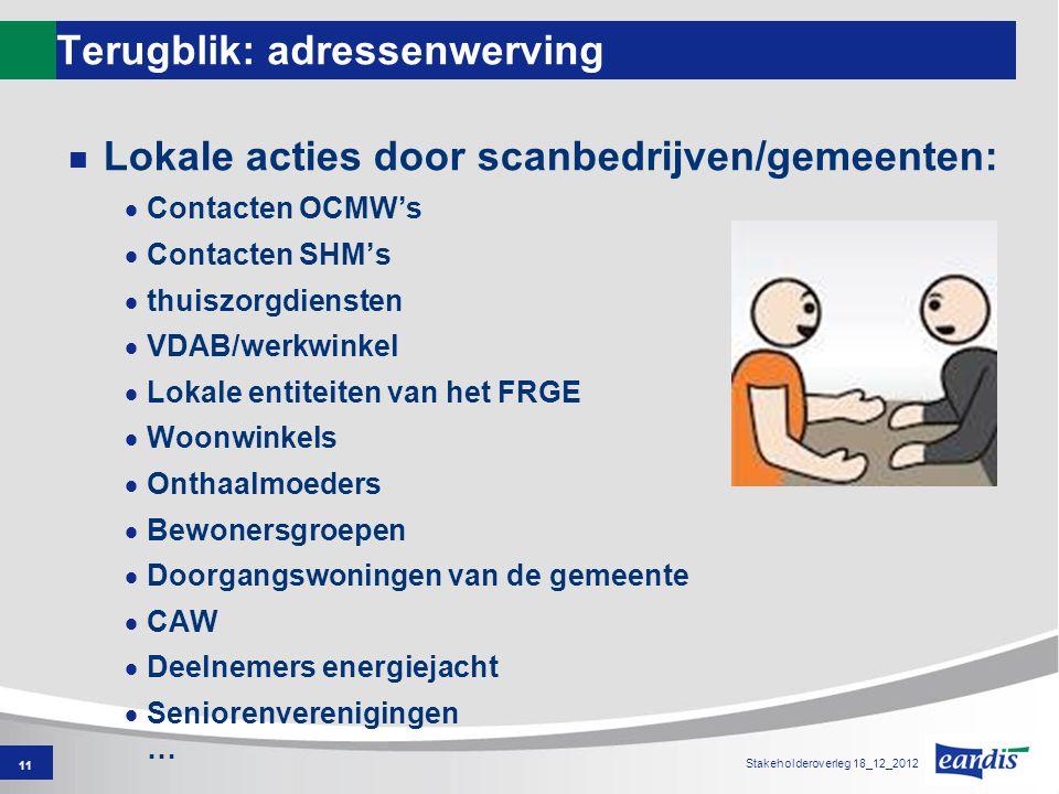 Terugblik: adressenwerving Lokale acties door scanbedrijven/gemeenten:  Contacten OCMW's  Contacten SHM's  thuiszorgdiensten  VDAB/werkwinkel  Lo