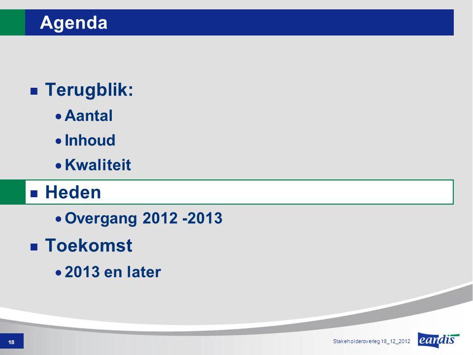 18 Agenda Terugblik:  Aantal  Inhoud  Kwaliteit Heden  Overgang 2012 -2013 Toekomst  2013 en later Stakeholderoverleg 18_12_2012