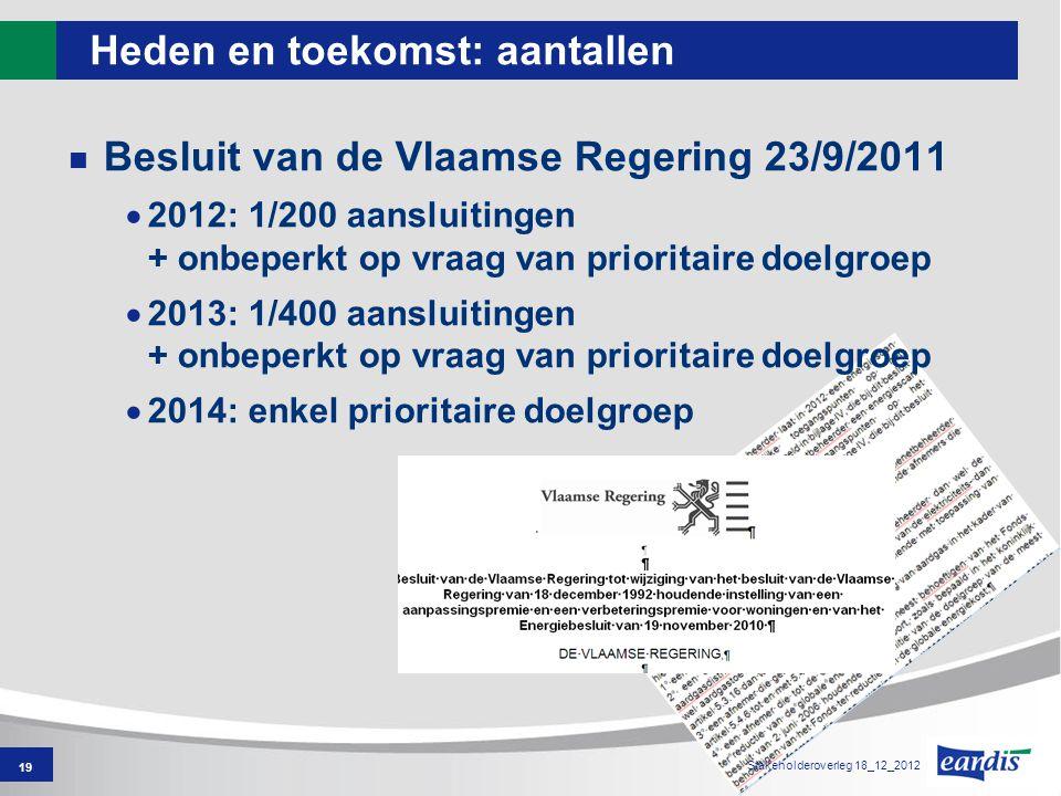 Heden en toekomst: aantallen Besluit van de Vlaamse Regering 23/9/2011  2012: 1/200 aansluitingen + onbeperkt op vraag van prioritaire doelgroep  2013: 1/400 aansluitingen + onbeperkt op vraag van prioritaire doelgroep  2014: enkel prioritaire doelgroep 19 Stakeholderoverleg 18_12_2012