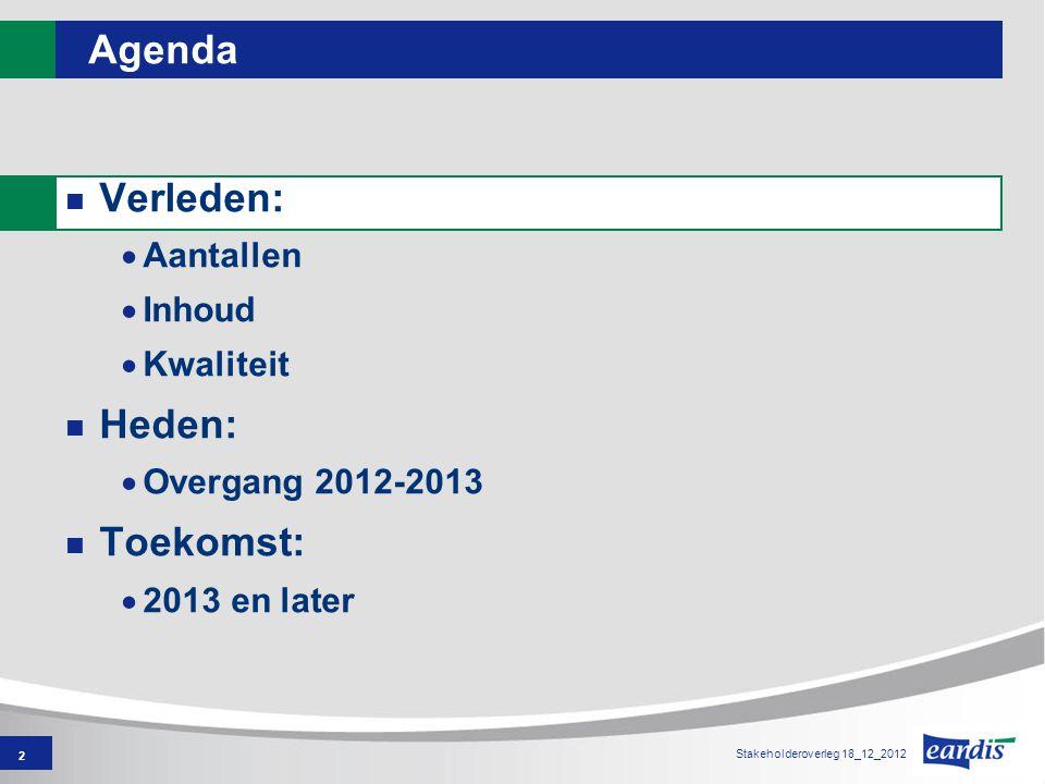 2 Agenda Verleden:  Aantallen  Inhoud  Kwaliteit Heden:  Overgang 2012-2013 Toekomst:  2013 en later Stakeholderoverleg 18_12_2012