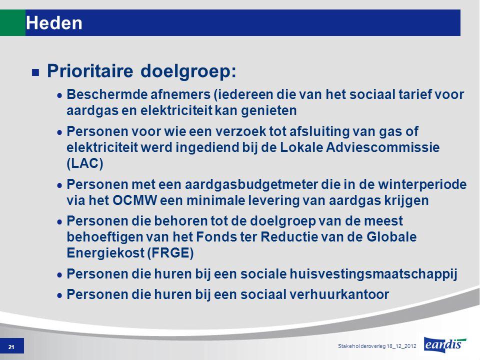 Heden Prioritaire doelgroep:  Beschermde afnemers (iedereen die van het sociaal tarief voor aardgas en elektriciteit kan genieten  Personen voor wie een verzoek tot afsluiting van gas of elektriciteit werd ingediend bij de Lokale Adviescommissie (LAC)  Personen met een aardgasbudgetmeter die in de winterperiode via het OCMW een minimale levering van aardgas krijgen  Personen die behoren tot de doelgroep van de meest behoeftigen van het Fonds ter Reductie van de Globale Energiekost (FRGE)  Personen die huren bij een sociale huisvestingsmaatschappij  Personen die huren bij een sociaal verhuurkantoor 21 Stakeholderoverleg 18_12_2012