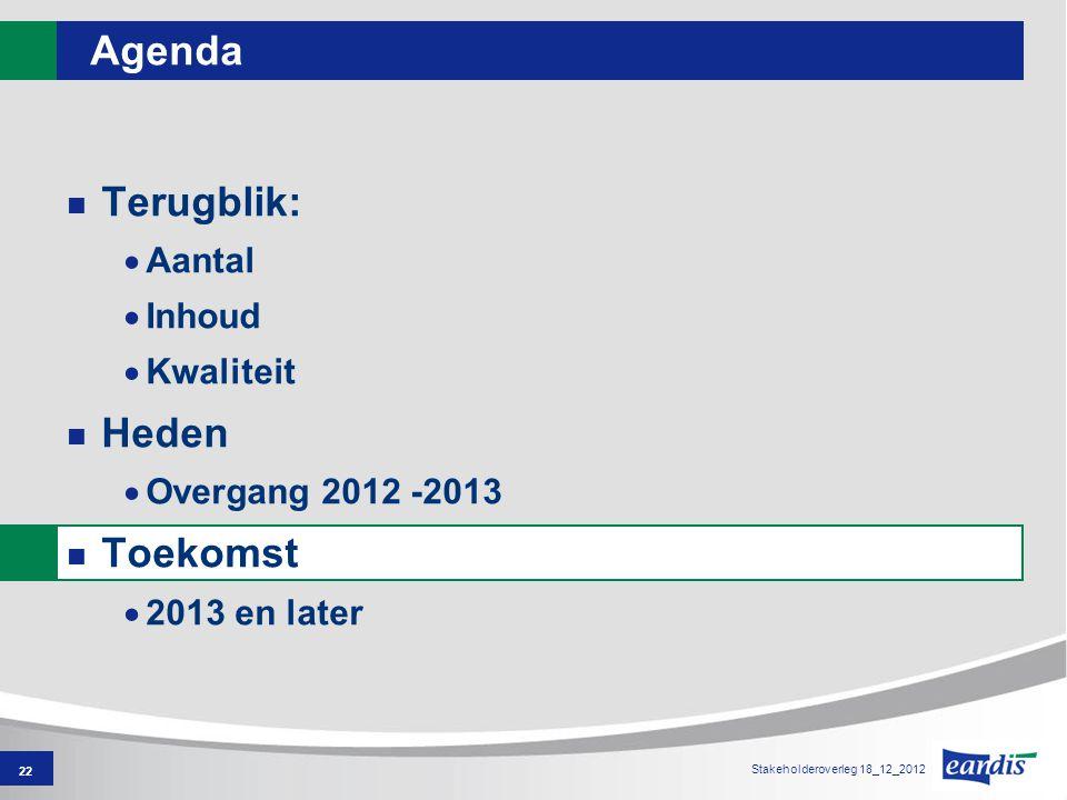 22 Agenda Terugblik:  Aantal  Inhoud  Kwaliteit Heden  Overgang 2012 -2013 Toekomst  2013 en later Stakeholderoverleg 18_12_2012