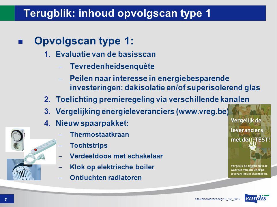 7 Stakeholderoverleg 18_12_2012 Terugblik: inhoud opvolgscan type 1 Opvolgscan type 1: 1.Evaluatie van de basisscan  Tevredenheidsenquête  Peilen na