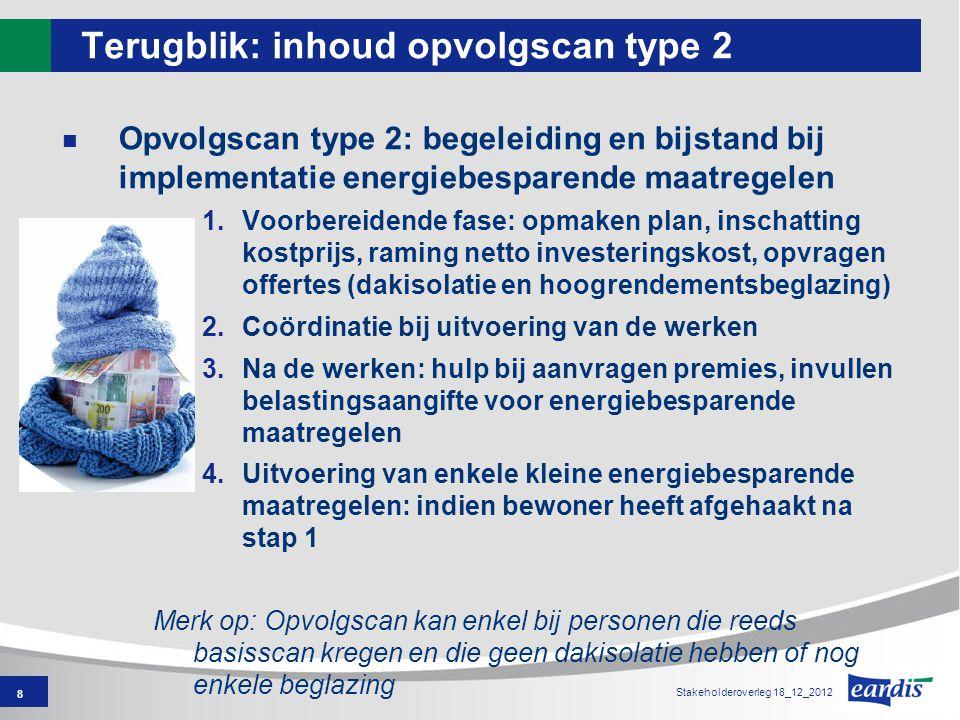 8 Stakeholderoverleg 18_12_2012 Terugblik: inhoud opvolgscan type 2 Opvolgscan type 2: begeleiding en bijstand bij implementatie energiebesparende maa