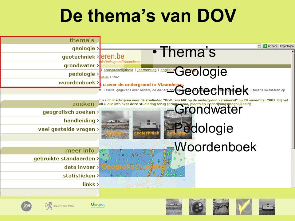 De thema's van DOV Thema's –Geologie –Geotechniek –Grondwater –Pedologie –Woordenboek