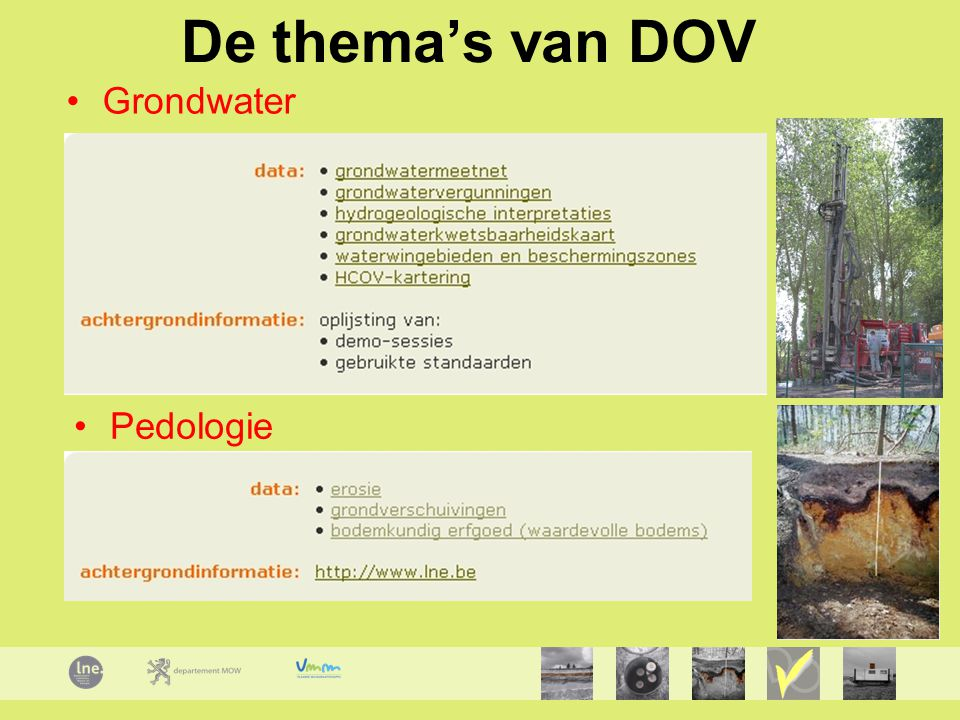 De thema's van DOV Grondwater Pedologie