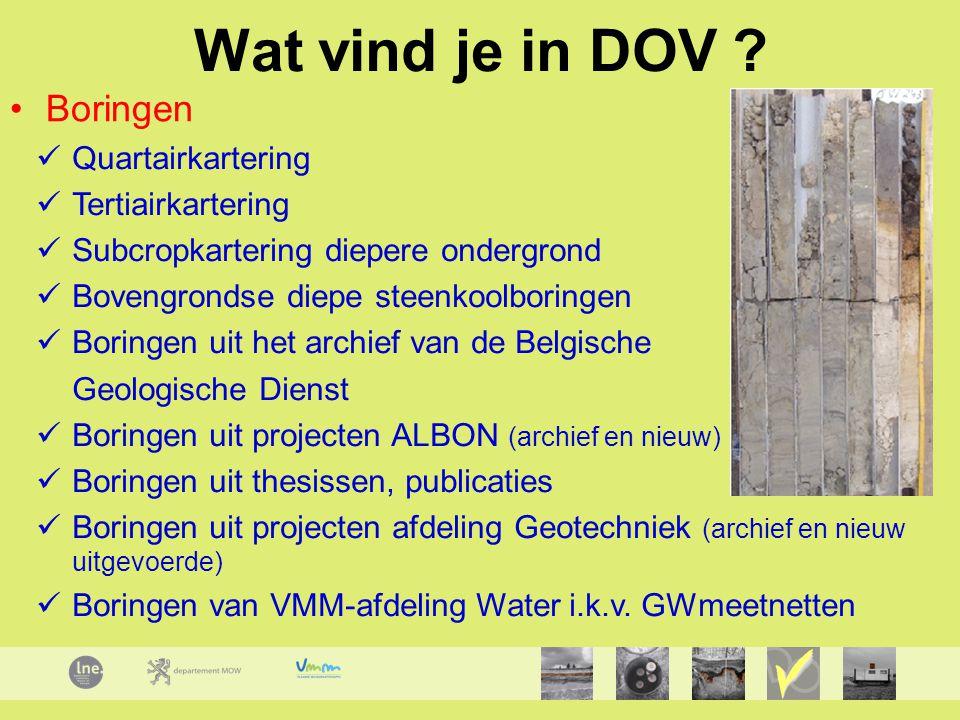 Quartairkartering Tertiairkartering Subcropkartering diepere ondergrond Bovengrondse diepe steenkoolboringen Boringen uit het archief van de Belgische