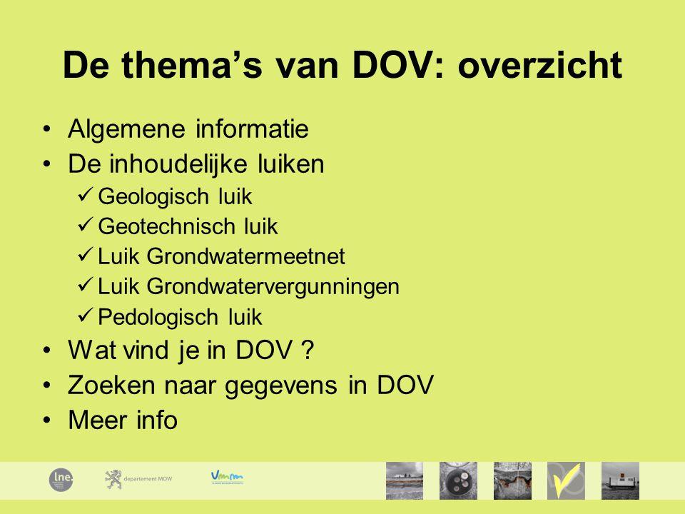 De thema's van DOV: overzicht Algemene informatie De inhoudelijke luiken Geologisch luik Geotechnisch luik Luik Grondwatermeetnet Luik Grondwatervergu