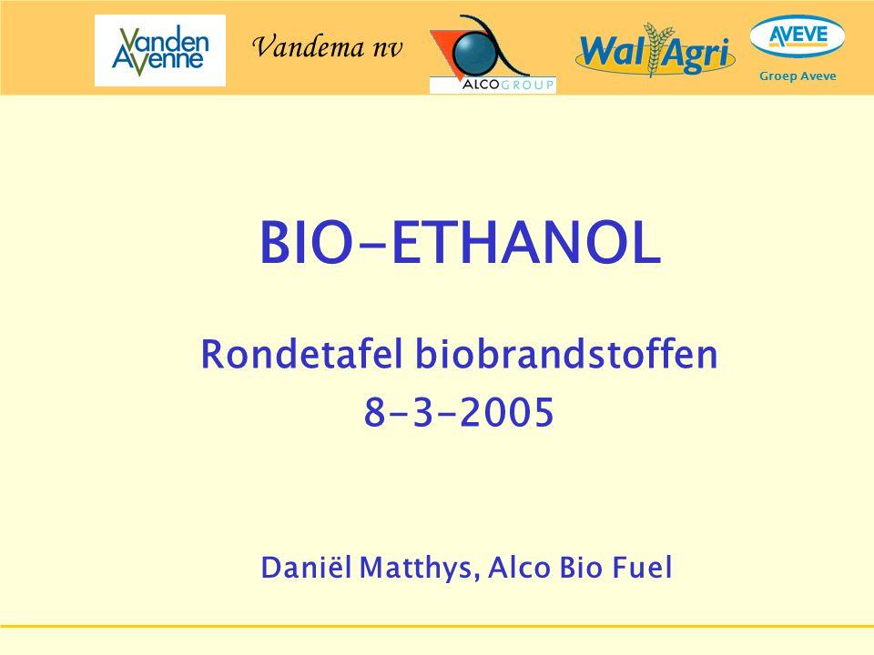 Groep Aveve BIO-ETHANOL Rondetafel biobrandstoffen 8-3-2005 Vandema nv Daniël Matthys, Alco Bio Fuel