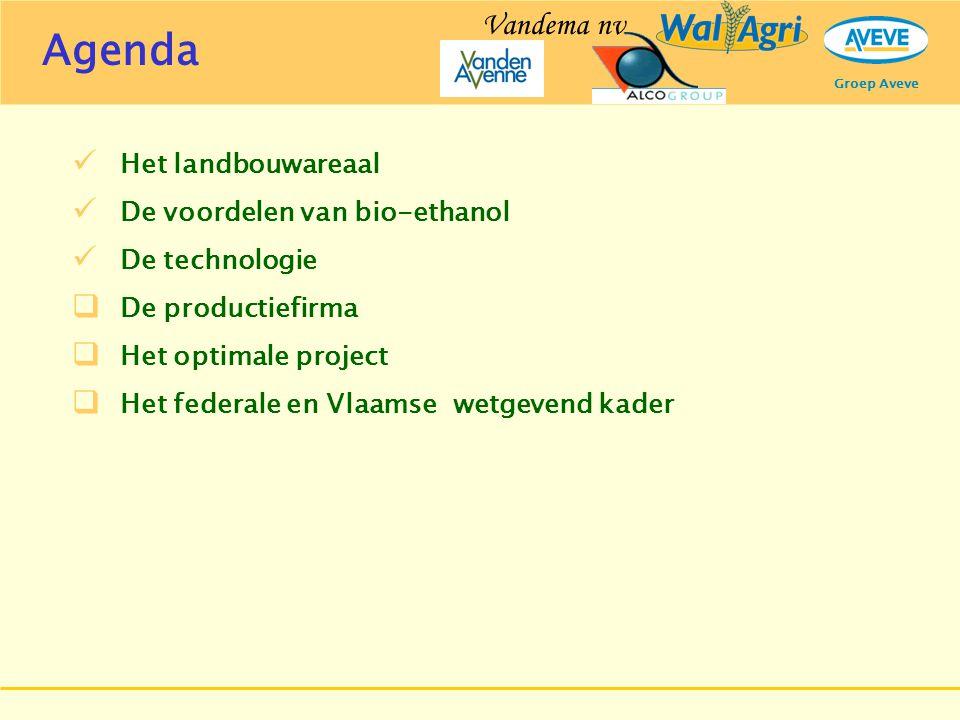 Groep Aveve Het landbouwareaal De voordelen van bio-ethanol De technologie  De productiefirma  Het optimale project  Het federale en Vlaamse wetgev