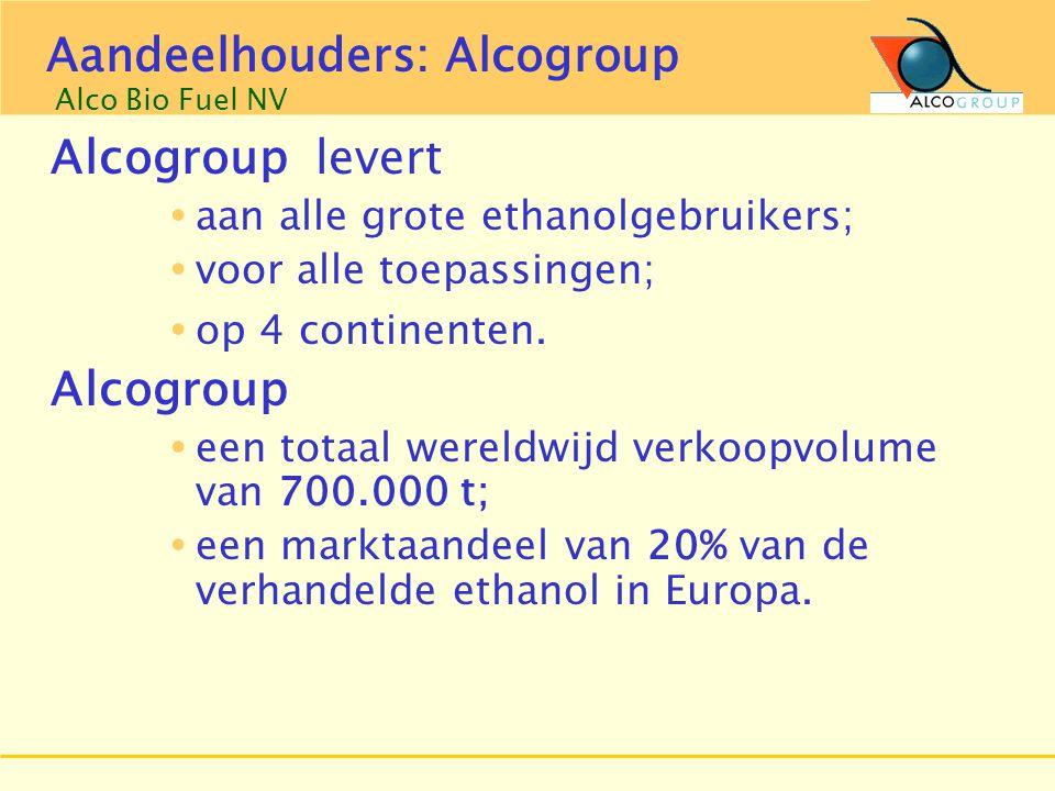 Groep Aveve Alcogroup levert  aan alle grote ethanolgebruikers;  voor alle toepassingen;  op 4 continenten. Alcogroup  een totaal wereldwijd verko