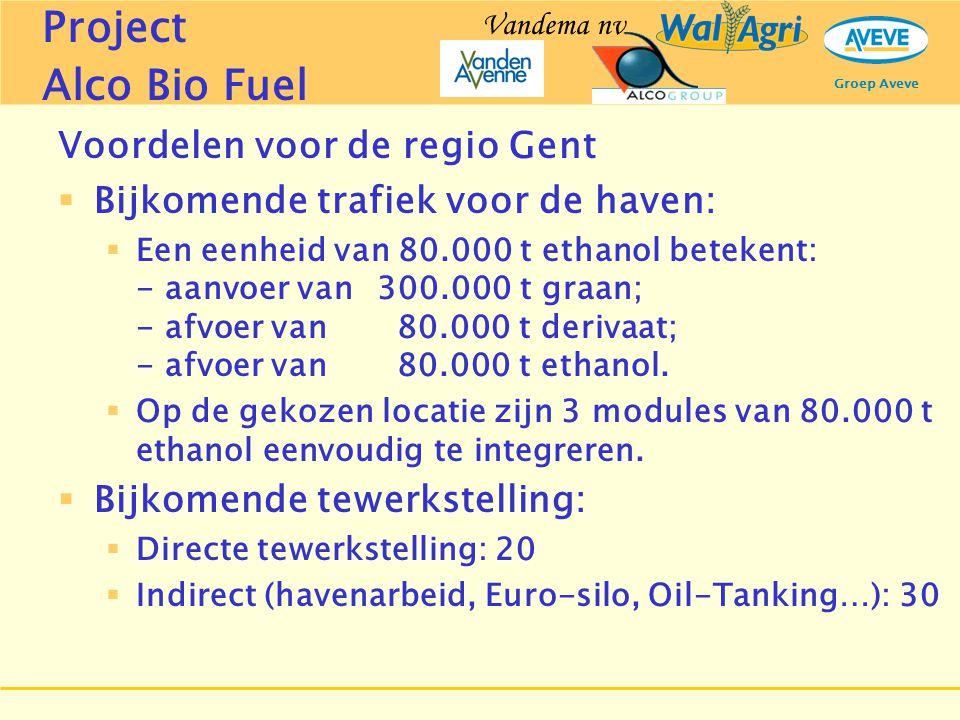 Groep Aveve Voordelen voor de regio Gent  Bijkomende trafiek voor de haven:  Een eenheid van 80.000 t ethanol betekent: - aanvoer van 300.000 t graa