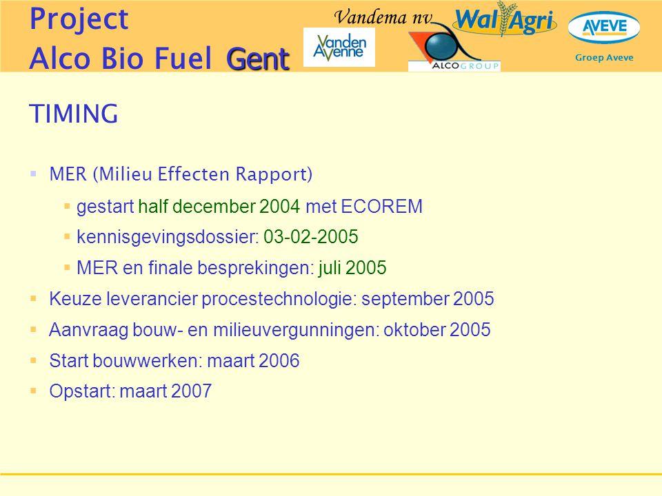 Groep Aveve TIMING  MER (Milieu Effecten Rapport)  gestart half december 2004 met ECOREM  kennisgevingsdossier: 03-02-2005  MER en finale bespreki