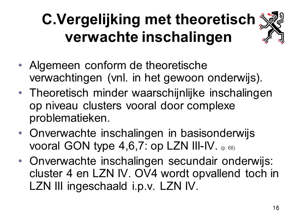 C.Vergelijking met theoretisch verwachte inschalingen Algemeen conform de theoretische verwachtingen (vnl. in het gewoon onderwijs). Theoretisch minde