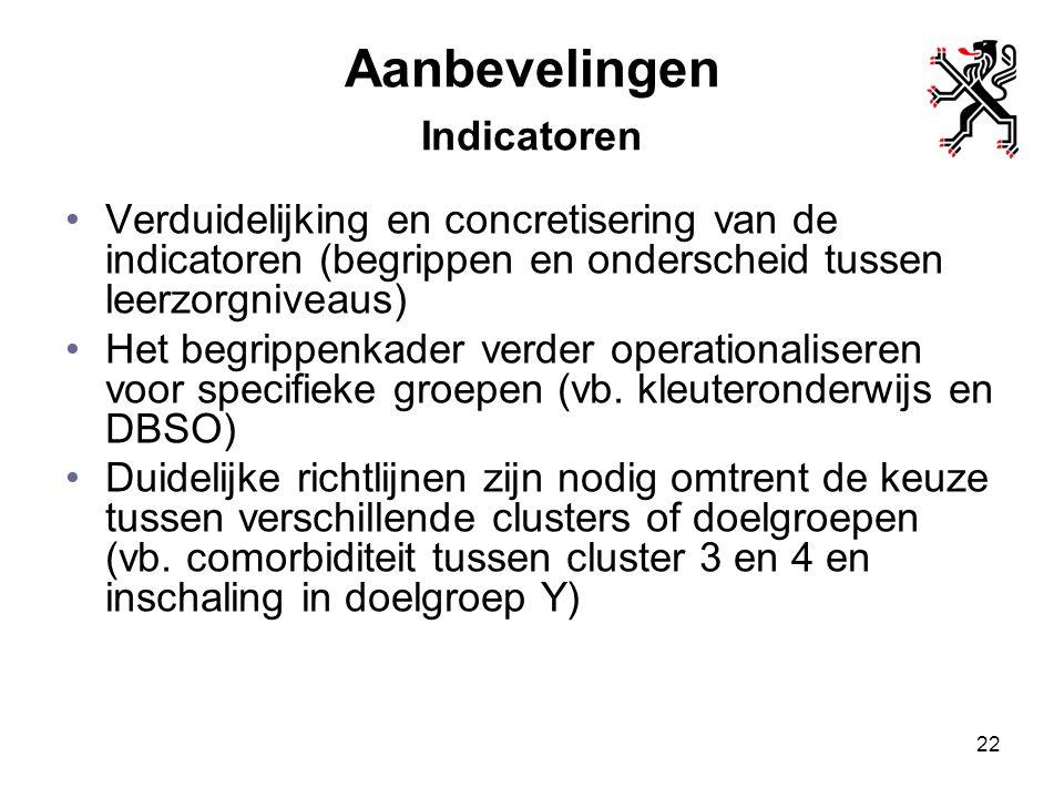 Aanbevelingen Indicatoren Verduidelijking en concretisering van de indicatoren (begrippen en onderscheid tussen leerzorgniveaus) Het begrippenkader ve