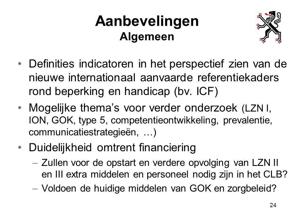 Aanbevelingen Algemeen Definities indicatoren in het perspectief zien van de nieuwe internationaal aanvaarde referentiekaders rond beperking en handic