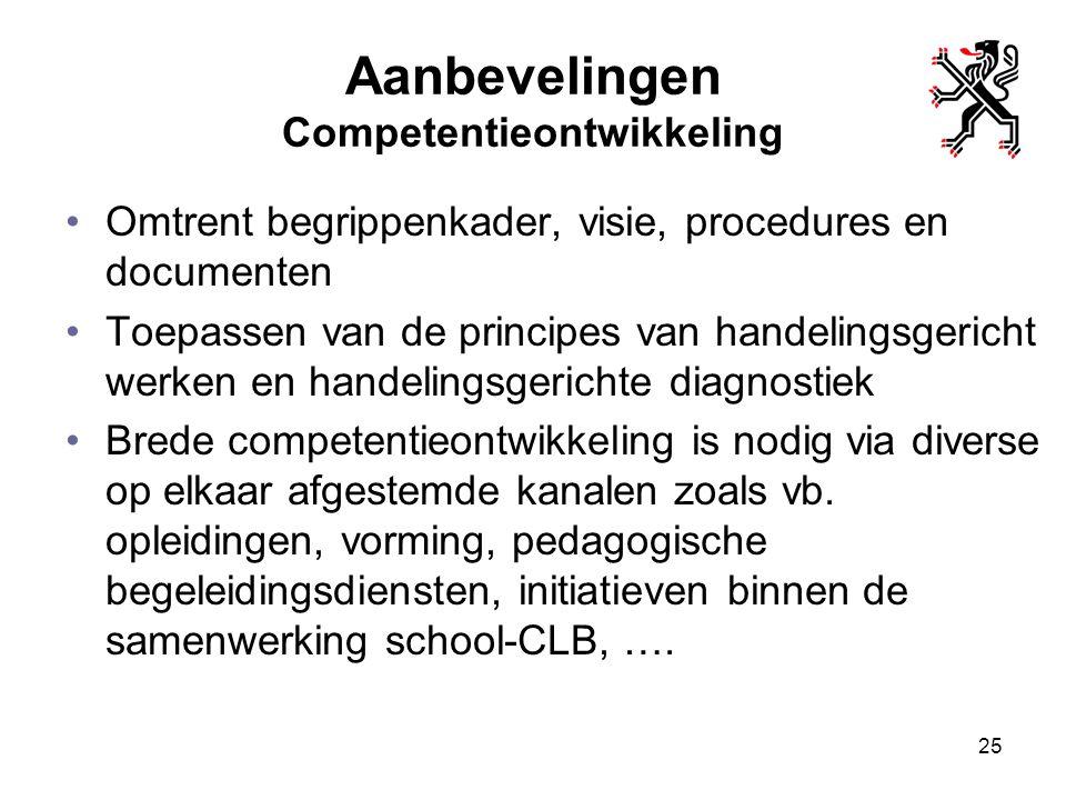 Aanbevelingen Competentieontwikkeling Omtrent begrippenkader, visie, procedures en documenten Toepassen van de principes van handelingsgericht werken