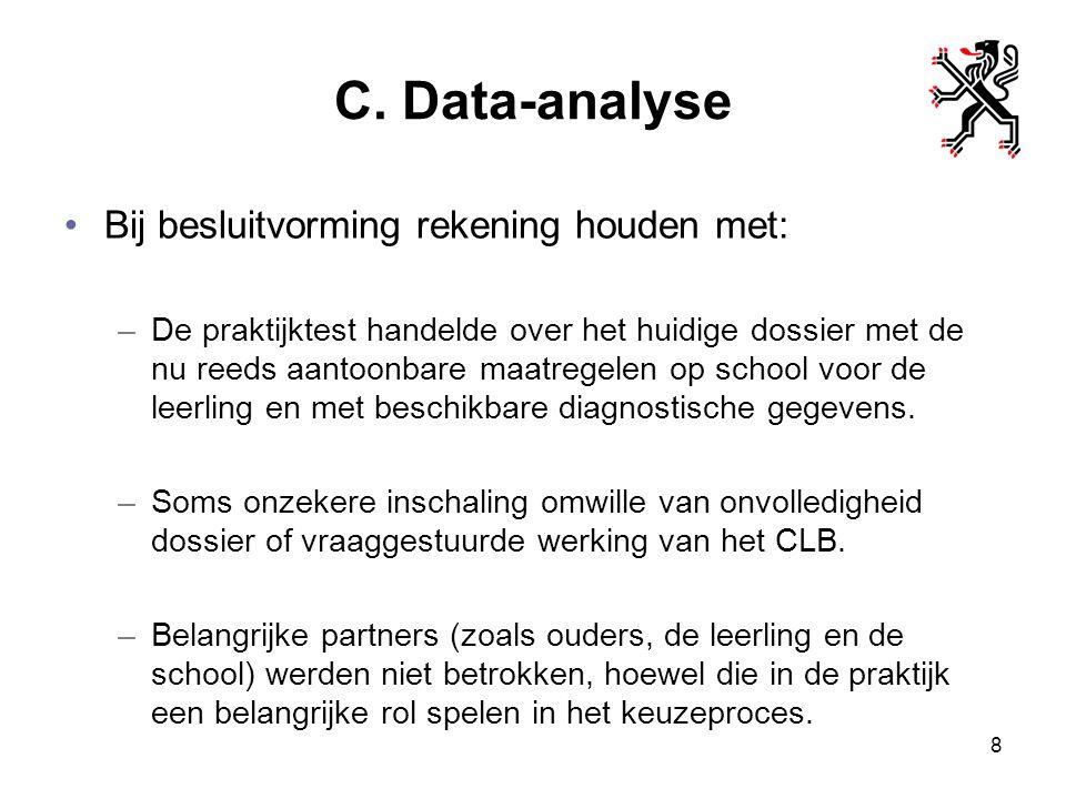 C. Data-analyse Bij besluitvorming rekening houden met: –De praktijktest handelde over het huidige dossier met de nu reeds aantoonbare maatregelen op