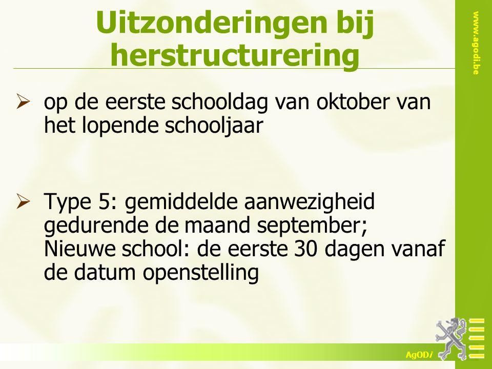 www.agodi.be AgODi Uitzonderingen bij herstructurering  op de eerste schooldag van oktober van het lopende schooljaar  Type 5: gemiddelde aanwezighe