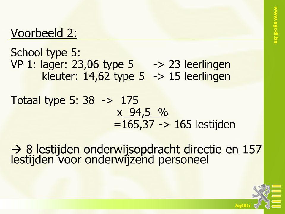www.agodi.be AgODi Voorbeeld 2: School type 5: VP 1: lager: 23,06 type 5-> 23 leerlingen kleuter: 14,62 type 5-> 15 leerlingen Totaal type 5: 38 -> 17
