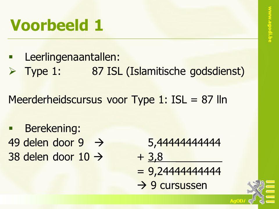 www.agodi.be AgODi Voorbeeld 1  Leerlingenaantallen:  Type 1: 87 ISL (Islamitische godsdienst) Meerderheidscursus voor Type 1: ISL = 87 lln  Bereke