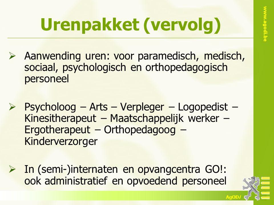 www.agodi.be AgODi  Aanwending uren: voor paramedisch, medisch, sociaal, psychologisch en orthopedagogisch personeel  Psycholoog – Arts – Verpleger