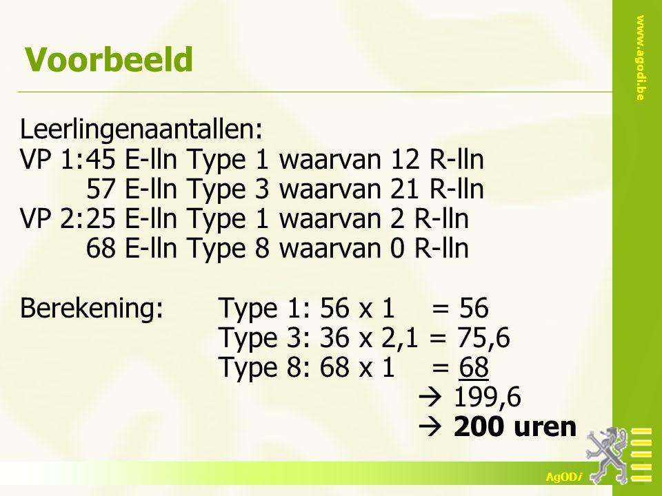www.agodi.be AgODi Voorbeeld Leerlingenaantallen: VP 1:45 E-lln Type 1 waarvan 12 R-lln 57 E-lln Type 3 waarvan 21 R-lln VP 2:25 E-lln Type 1 waarvan