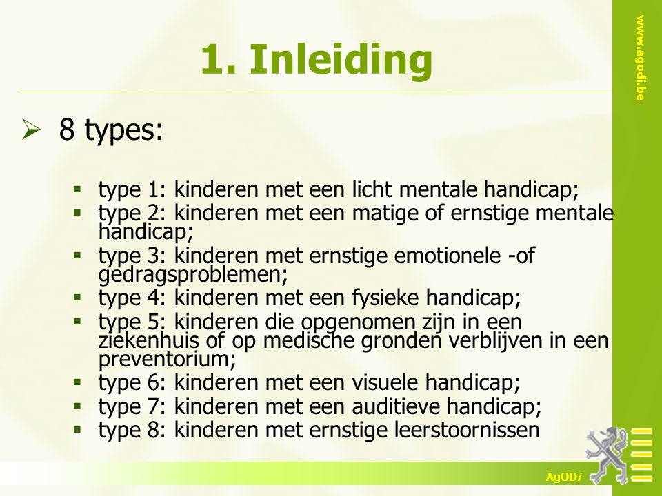 www.agodi.be AgODi 1. Inleiding  8 types:  type 1: kinderen met een licht mentale handicap;  type 2: kinderen met een matige of ernstige mentale ha
