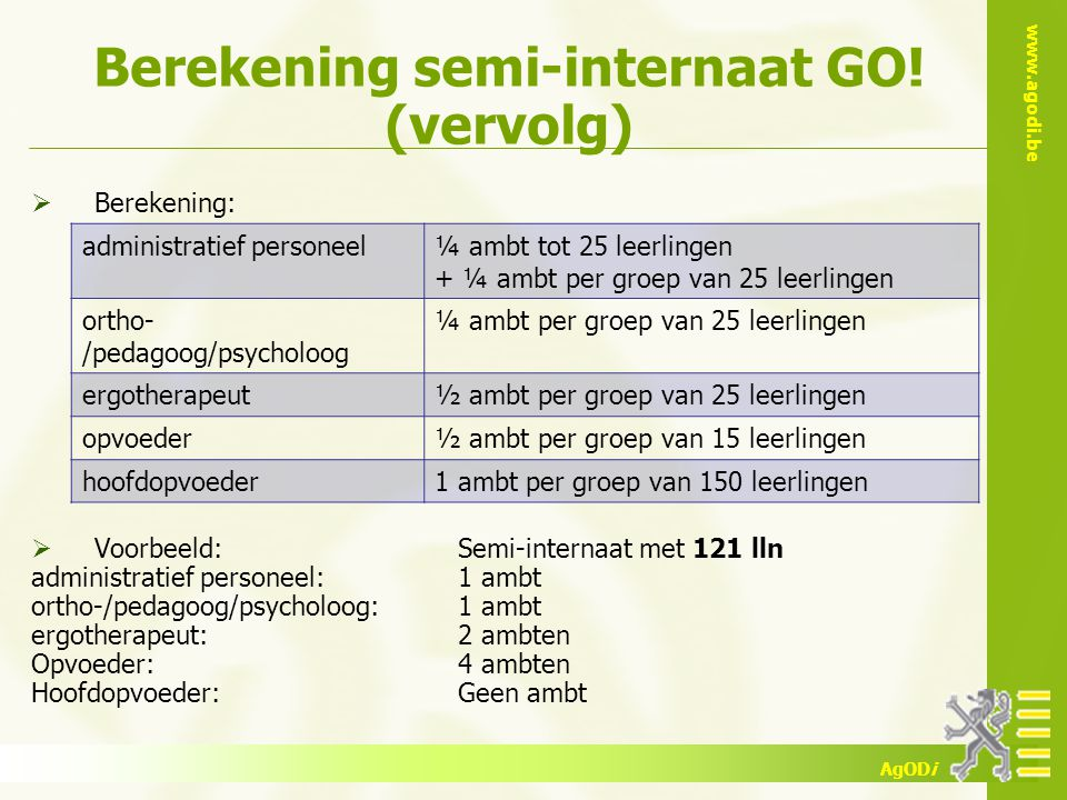 www.agodi.be AgODi Berekening semi-internaat GO.