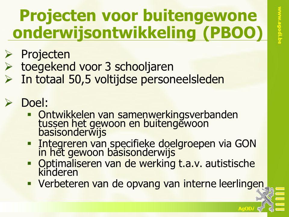 www.agodi.be AgODi Projecten voor buitengewone onderwijsontwikkeling (PBOO)  Projecten  toegekend voor 3 schooljaren  In totaal 50,5 voltijdse pers