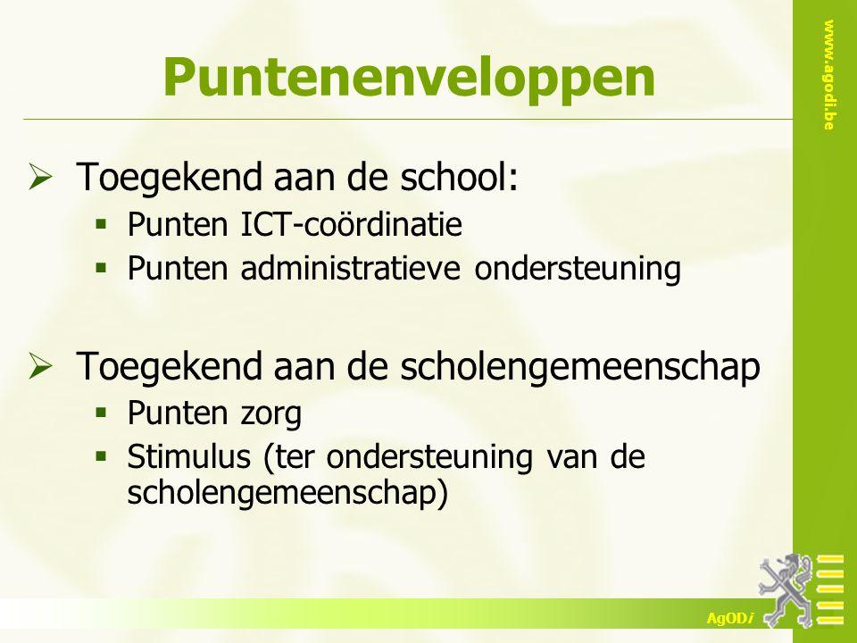 www.agodi.be AgODi Puntenenveloppen  Toegekend aan de school:  Punten ICT-coördinatie  Punten administratieve ondersteuning  Toegekend aan de scho