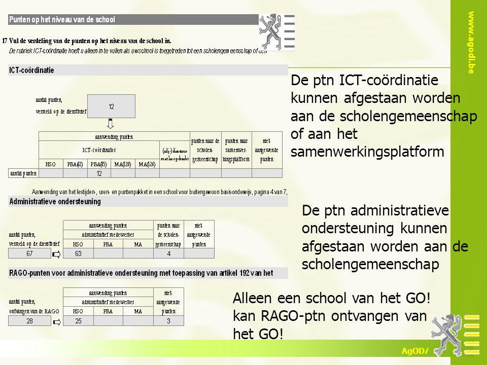 www.agodi.be AgODi De ptn ICT-coördinatie kunnen afgestaan worden aan de scholengemeenschap of aan het samenwerkingsplatform De ptn administratieve on