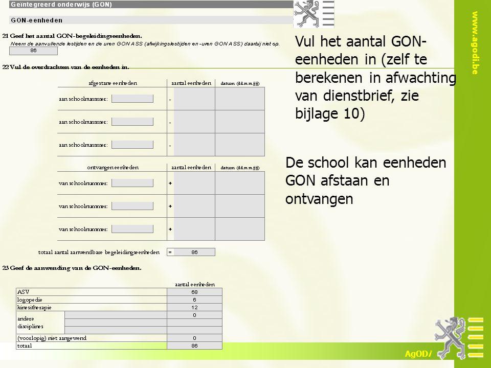 www.agodi.be AgODi Vul het aantal GON- eenheden in (zelf te berekenen in afwachting van dienstbrief, zie bijlage 10) De school kan eenheden GON afstaa