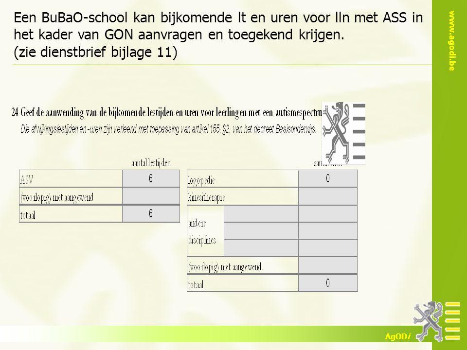 www.agodi.be AgODi Een BuBaO-school kan bijkomende lt en uren voor lln met ASS in het kader van GON aanvragen en toegekend krijgen. (zie dienstbrief b