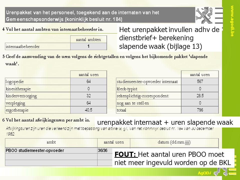 www.agodi.be AgODi Het urenpakket invullen adhv de dienstbrief+ berekening slapende waak (bijlage 13) FOUT: Het aantal uren PBOO moet niet meer ingevu