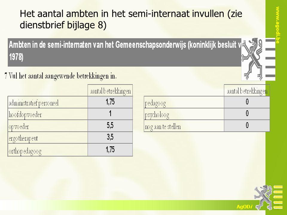 www.agodi.be AgODi Het aantal ambten in het semi-internaat invullen (zie dienstbrief bijlage 8)