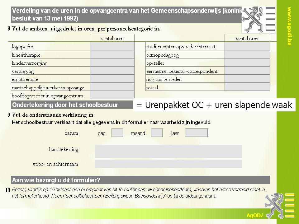 www.agodi.be AgODi = Urenpakket OC + uren slapende waak