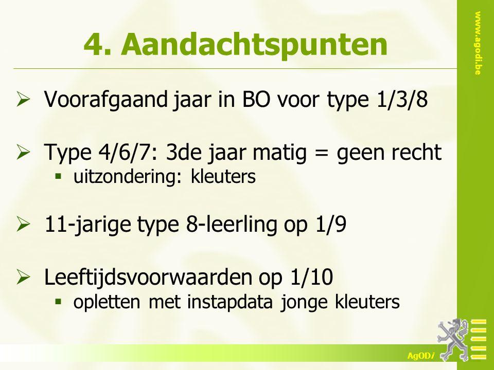 www.agodi.be AgODi 4. Aandachtspunten  Voorafgaand jaar in BO voor type 1/3/8  Type 4/6/7: 3de jaar matig = geen recht  uitzondering: kleuters  11