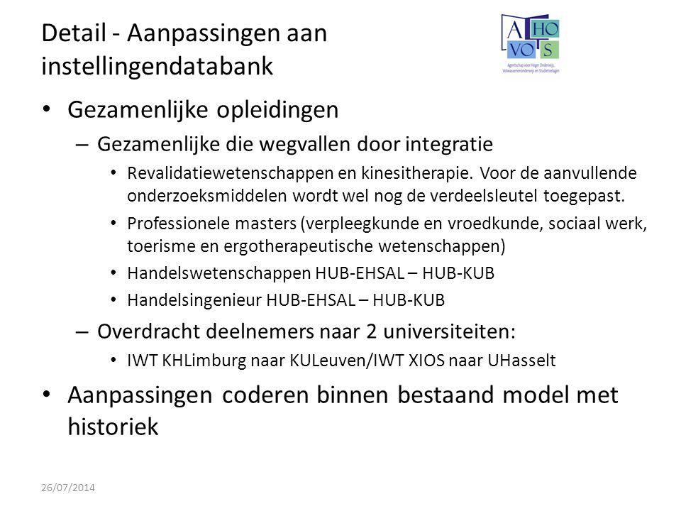 Detail - Aanpassingen aan instellingendatabank 26/07/2014 Gezamenlijke opleidingen – Gezamenlijke die wegvallen door integratie Revalidatiewetenschappen en kinesitherapie.