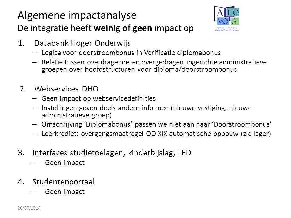 Impact op Datawarehouse Hoger Onderwijs 26/07/2014 -Kan overweg met nieuwe administratieve groepen -Alle wijzigingen kunnen technisch opgevangen worden -Impact op validatierapporten: de dimensie 'vestiging' opnemen in de rapporten