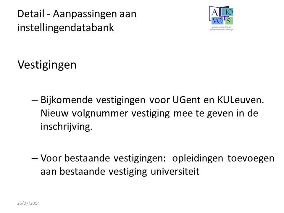 Detail - Aanpassingen aan instellingendatabank 26/07/2014 Vestigingen – Bijkomende vestigingen voor UGent en KULeuven.