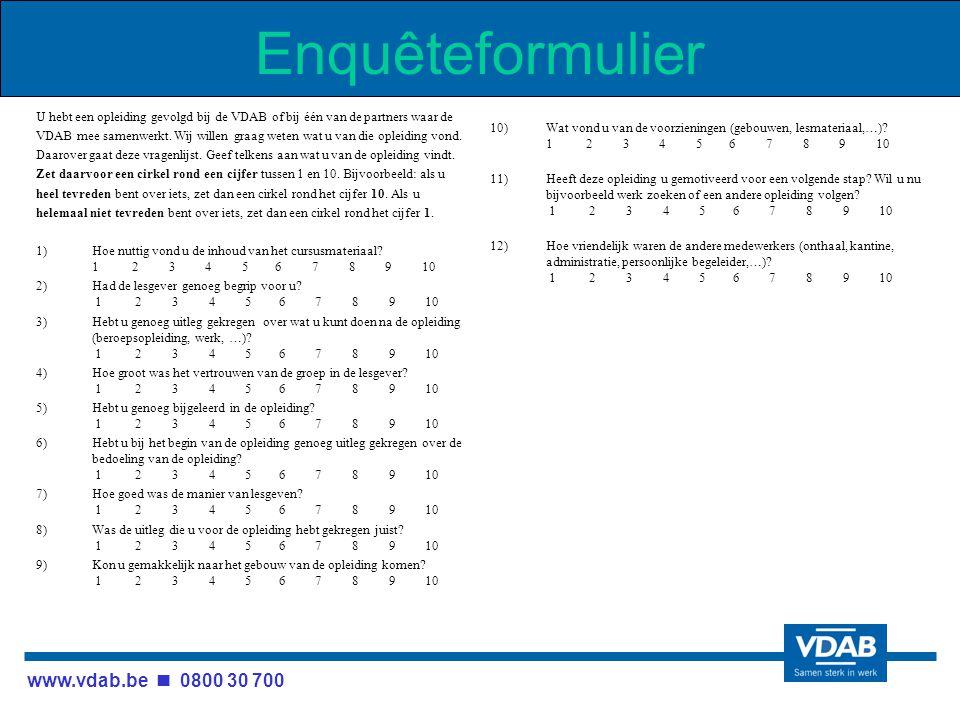 www.vdab.be 0800 30 700 Enquêteformulier U hebt een opleiding gevolgd bij de VDAB of bij één van de partners waar de VDAB mee samenwerkt.