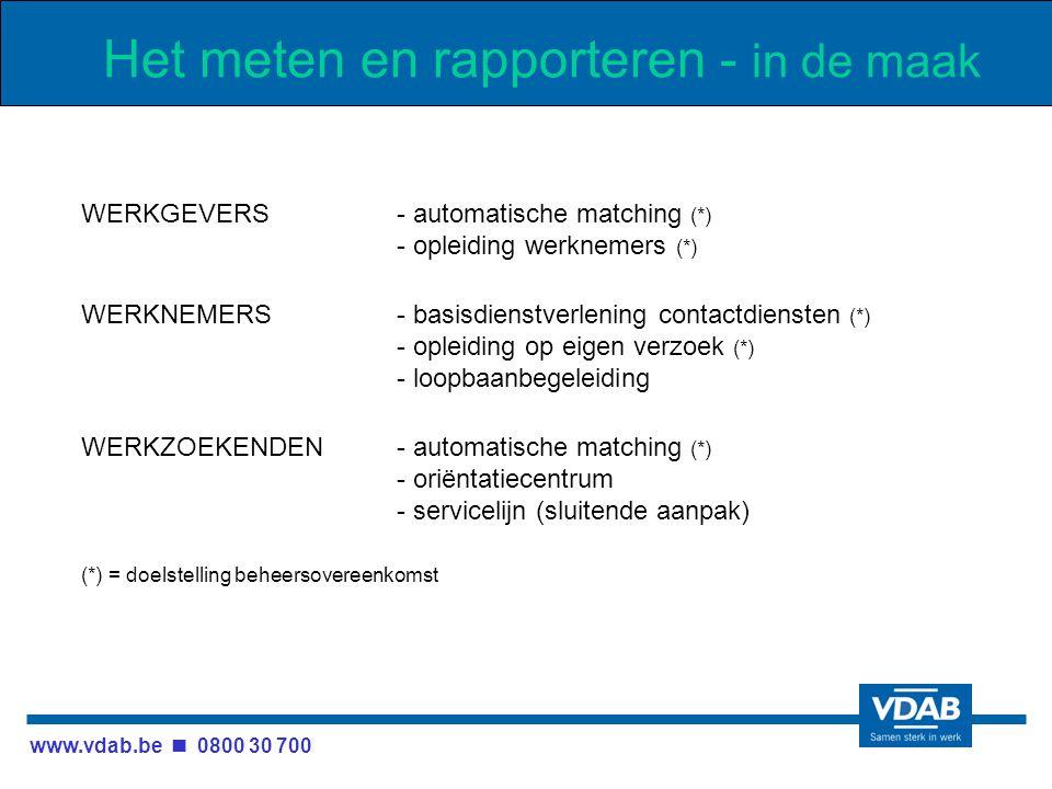www.vdab.be 0800 30 700 Het meten en rapporteren - in de maak WERKGEVERS- automatische matching (*) - opleiding werknemers (*) WERKNEMERS- basisdienstverlening contactdiensten (*) - opleiding op eigen verzoek (*) - loopbaanbegeleiding WERKZOEKENDEN- automatische matching (*) - oriëntatiecentrum - servicelijn (sluitende aanpak) (*) = doelstelling beheersovereenkomst